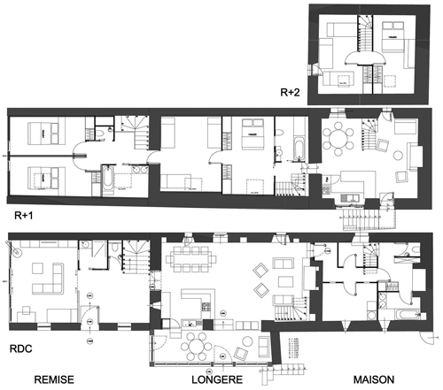 Plan de long res plan de maison r nover vente long re - Plan longere plain pied ...